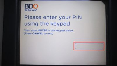 BDOのATM「暗証番号入力画面」