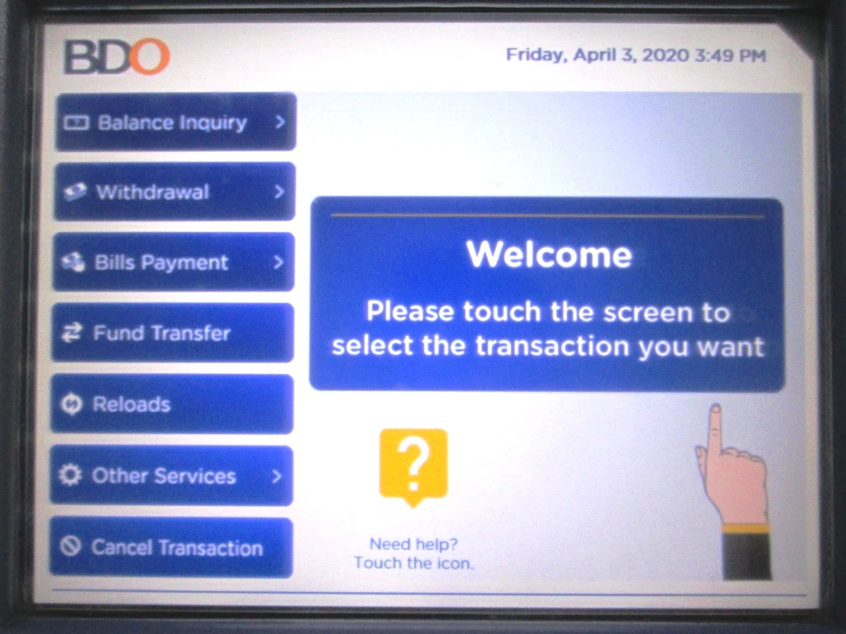 BDOのATM画面