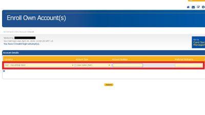 BDOオンラインバンキング口座追加画面