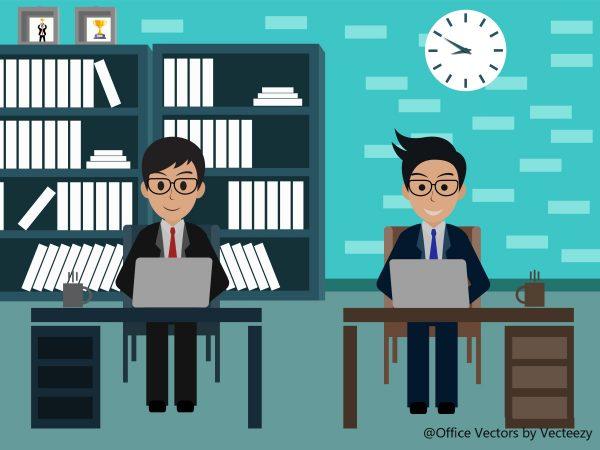 オフィスで働く二人