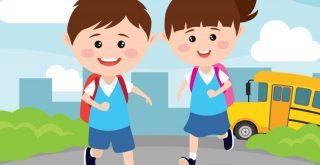 学校へ向かう男子生徒と女子生徒