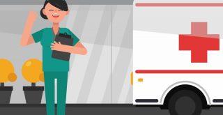 看護師と救急車